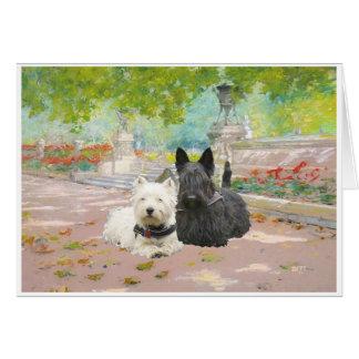 Scottie and Westie in a Garden Card