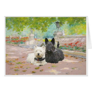 Scottie and Westie in a Garden Greeting Card