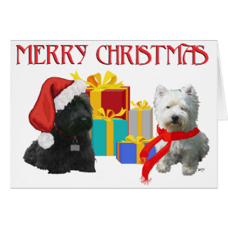 Scottie and Westie Merry Christmas Greeting Card
