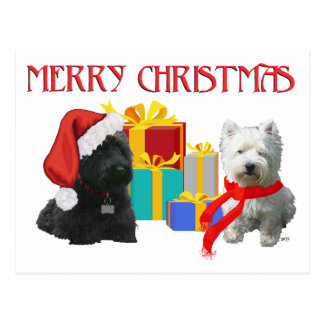 Scottie and Westie Merry Christmas Postcard