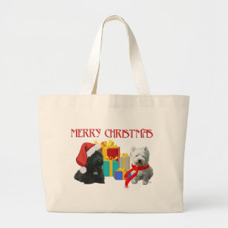 Scottie and Westie Merry Christmas Tote Bag