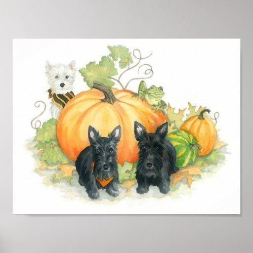 Scottie and Westie October Fun Poster