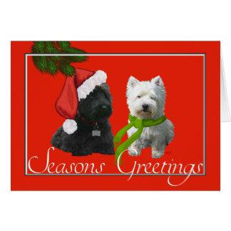 Scottie and Westie Seasons Greetings Card