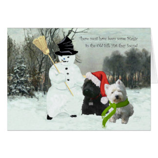 Scottie and Westie with Snowman Card