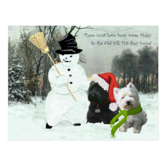 Scottie and Westie with Snowman Postcard