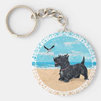Scottie at the Beach Basic Round Button Key Ring