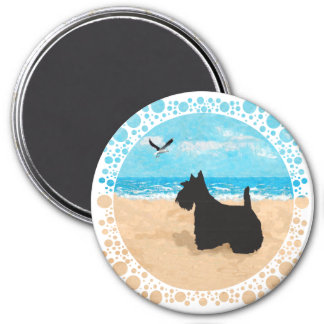 Scottie at the Beach with Seagull 7.5 Cm Round Magnet