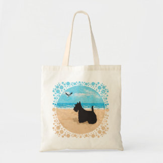 Scottie at the Beach with Seagull Canvas Bag
