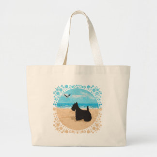 Scottie at the Beach with Seagull Canvas Bags
