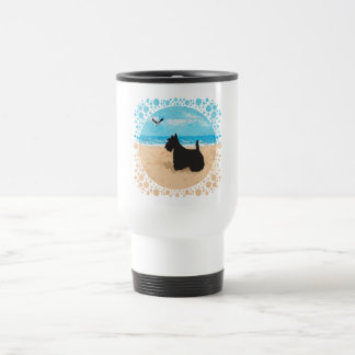 Scottie at the Beach with Seagull Mugs