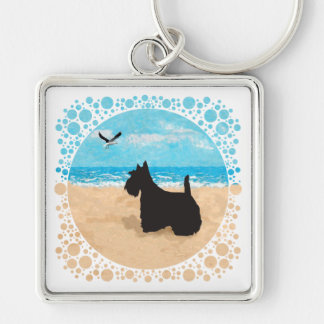 Scottie at the Beach with Seagull Silver-Colored Square Key Ring