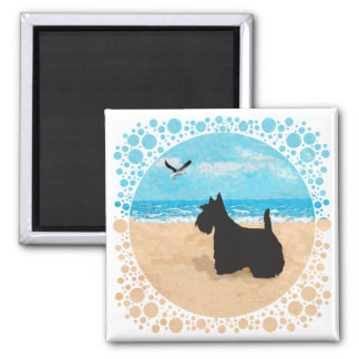 Scottie at the Beach with Seagull Square Magnet