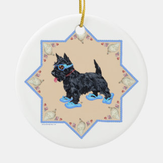 Scottie Blue FlipFlops Christmas Ornament