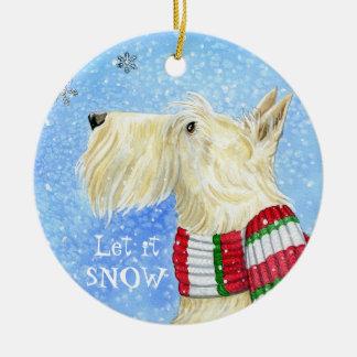 Scottie Christmas Magic Round Ceramic Decoration