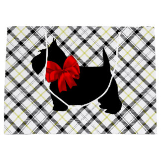 Scottie Dog and Red Bow on Plaid Large Gift Bag