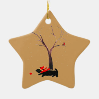 Scottie Dog and Robins Christmas Ornament
