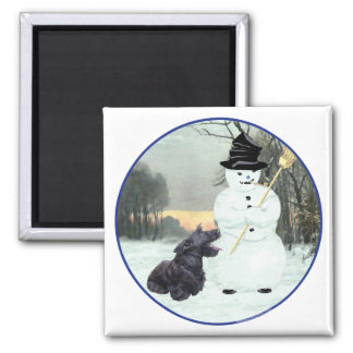 Scottie Dog and Snowman Square Magnet