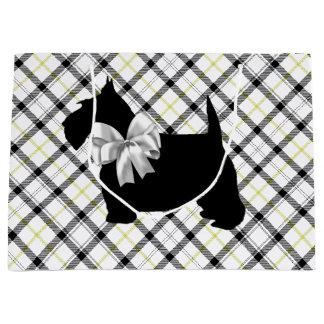 Scottie Dog and White Bow on Plaid Large Gift Bag