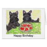 Scottie dog birthday card art  Scottish terrier