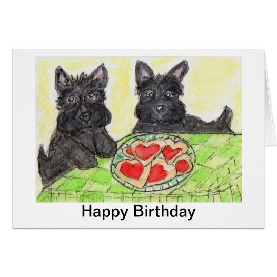 Scottie dog birthday card art  Scottish terrier