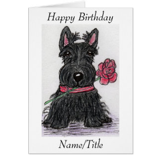 Scottie Dog Birthday card friend wife girlfriend