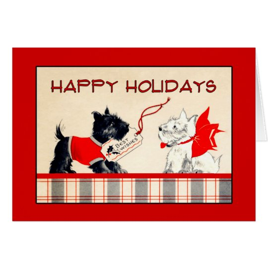 Scottie Dog Black and White Happy Holidays card
