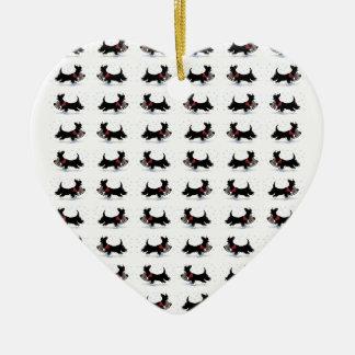 Scottie Dog Ceramic Heart Decoration