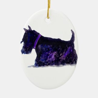 Scottie Dog Ceramic Oval Decoration