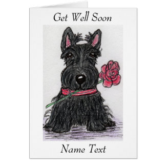 Scottie Dog Get Well Soon Card friend etc.
