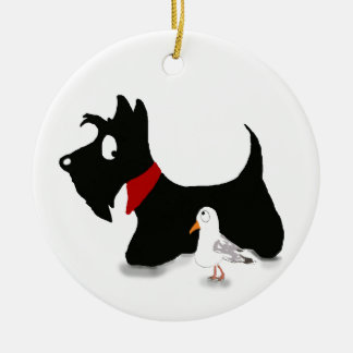 Scottie Dog & Gull Round Ceramic Decoration