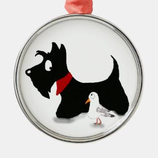 Scottie Dog & Gull Silver-Colored Round Decoration