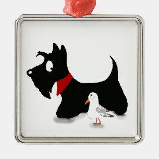 Scottie Dog & Gull Silver-Colored Square Decoration