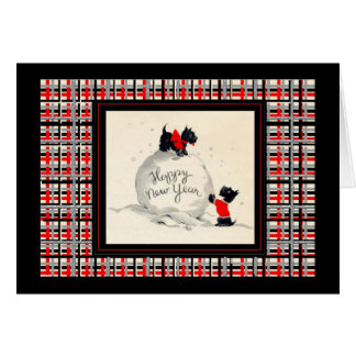 Scottie dog Happy new year vintage image Card