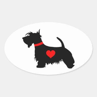 Scottie dog heart oval stickers