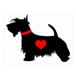 Scottie dog heart postcard