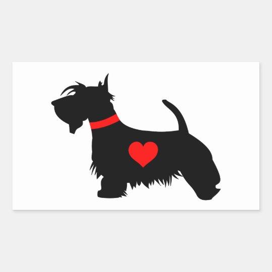 Scottie dog heart rectangular sticker
