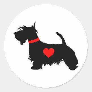 Scottie dog heart round stickers