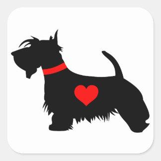Scottie dog heart square stickers