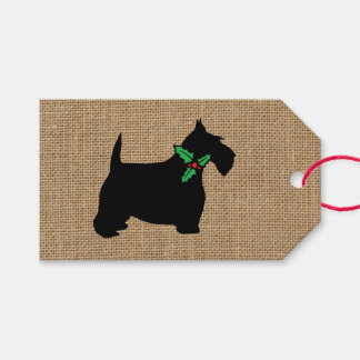 Scottie Dog Holly Burlap Gift Tags