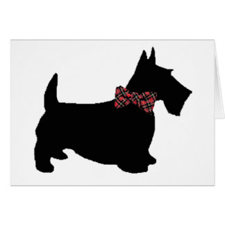 Scottie Dog in Plaid Bow Tie Card