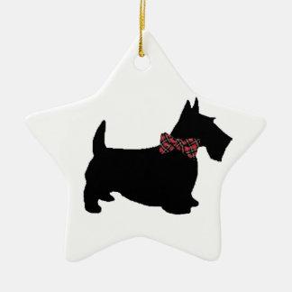 Scottie Dog in Plaid Bow Tie Ceramic Star Decoration