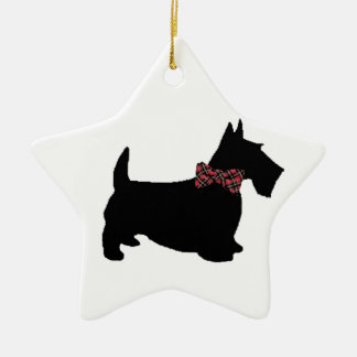 Scottie Dog in Plaid Bow Tie Christmas Ornament