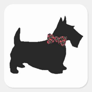 Scottie Dog in Plaid Bow Tie Stickers