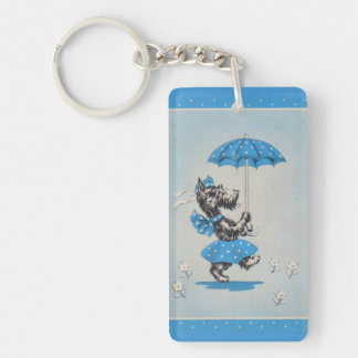 Scottie dog lady carrying umbrella key ring