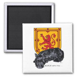 Scottie Dog Lion Rampant Flag Square Magnet