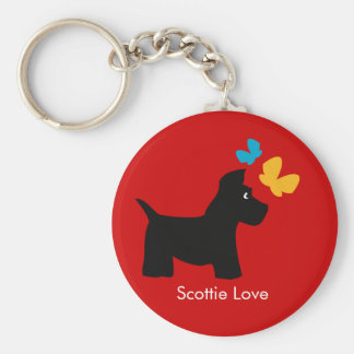 Scottie Dog Love Basic Round Button Key Ring