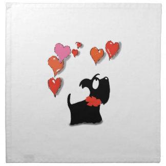 Scottie Dog Love Hearts Napkin