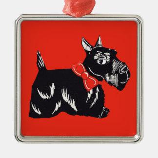 Scottie Dog Red Premium Square Ornament