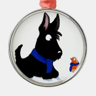 Scottie Dog & Robin Silver-Colored Round Decoration
