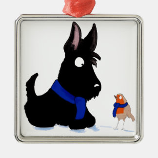 Scottie Dog & Robin Silver-Colored Square Decoration